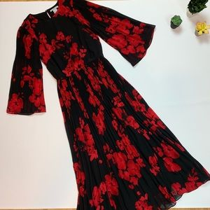 a9d8a11b2571 H&M Dresses | Hm Black Red Floral Pleated Midi Dress | Poshmark